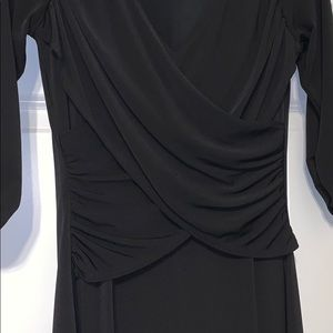 Women's black dress XS ruched waist and sleeves
